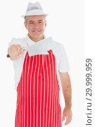 Купить «Butcher holding big meat cleaver», фото № 29999959, снято 8 августа 2012 г. (c) Wavebreak Media / Фотобанк Лори