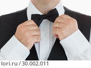 Купить «Man adjusting his bow tie», фото № 30002011, снято 13 августа 2012 г. (c) Wavebreak Media / Фотобанк Лори