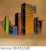 Купить «Rear view of businessman standing on ladder touching painted city», фото № 30012535, снято 19 августа 2013 г. (c) Wavebreak Media / Фотобанк Лори