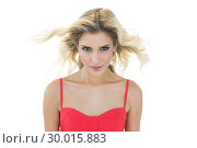 Купить «Mysterious smiling blonde model looking at camera», фото № 30015883, снято 28 июня 2013 г. (c) Wavebreak Media / Фотобанк Лори