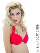 Купить «Mysterious sexy blonde model in red bikini looking at camera», фото № 30015899, снято 28 июня 2013 г. (c) Wavebreak Media / Фотобанк Лори