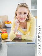 Купить «Lucky cute blonde using tablet», фото № 30016227, снято 2 июля 2013 г. (c) Wavebreak Media / Фотобанк Лори