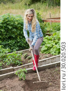 Купить «Blonde woman working with a rake», фото № 30020503, снято 4 июля 2013 г. (c) Wavebreak Media / Фотобанк Лори