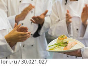 Купить «Chefs applauding a salmon dish», фото № 30021027, снято 14 августа 2013 г. (c) Wavebreak Media / Фотобанк Лори