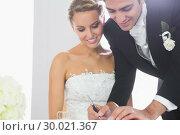 Happy young bridegroom signing wedding contract. Стоковое фото, агентство Wavebreak Media / Фотобанк Лори