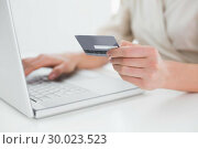 Купить «Close up mid section of woman doing online shopping», фото № 30023523, снято 18 июля 2013 г. (c) Wavebreak Media / Фотобанк Лори