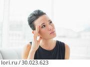 Купить «Close up of a businesswoman suffering from headache», фото № 30023623, снято 18 июля 2013 г. (c) Wavebreak Media / Фотобанк Лори