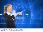 Купить «Composite image of businesswoman pointing somewhere», фото № 30030695, снято 1 ноября 2013 г. (c) Wavebreak Media / Фотобанк Лори