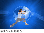 Купить «Composite image of cheerful classy businesswoman jumping while holding binoculars», фото № 30030727, снято 1 ноября 2013 г. (c) Wavebreak Media / Фотобанк Лори
