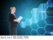 Купить «Composite image of businesswoman holding new tablet», фото № 30030795, снято 1 ноября 2013 г. (c) Wavebreak Media / Фотобанк Лори
