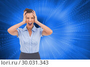 Composite image of stressed businessswoman with hand on her head. Стоковое фото, агентство Wavebreak Media / Фотобанк Лори