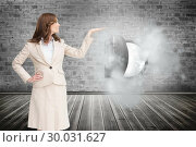 Купить «Composite image of smiling businesswoman raising her hand», фото № 30031627, снято 2 ноября 2013 г. (c) Wavebreak Media / Фотобанк Лори