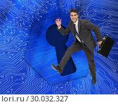 Купить «Composite image of cheerful businessman in a hury», фото № 30032327, снято 2 ноября 2013 г. (c) Wavebreak Media / Фотобанк Лори