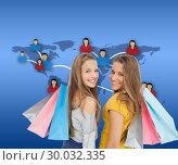 Купить «Composite image of two young women with shopping bags», фото № 30032335, снято 2 ноября 2013 г. (c) Wavebreak Media / Фотобанк Лори