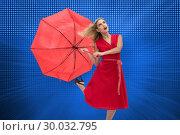 Купить «Composite image of elegant blonde holding umbrella», фото № 30032795, снято 2 ноября 2013 г. (c) Wavebreak Media / Фотобанк Лори