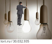 Купить «Composite image of businessman standing on ladder», фото № 30032935, снято 2 ноября 2013 г. (c) Wavebreak Media / Фотобанк Лори