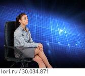 Купить «Composite image of portrait of a serious businesswoman sitting on an armchair», фото № 30034871, снято 2 ноября 2013 г. (c) Wavebreak Media / Фотобанк Лори