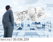 Купить «Composite image of businessman standing», фото № 30036259, снято 9 ноября 2013 г. (c) Wavebreak Media / Фотобанк Лори