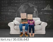Купить «Composite image of silly employees with arms folded wearing boxes on their heads», фото № 30036643, снято 9 ноября 2013 г. (c) Wavebreak Media / Фотобанк Лори