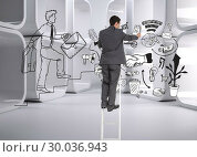 Купить «Composite image of businessman standing on ladder», фото № 30036943, снято 9 ноября 2013 г. (c) Wavebreak Media / Фотобанк Лори