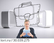 Купить «Composite image of front view of concentrated chic businesswoman using her tablet», фото № 30039275, снято 10 ноября 2013 г. (c) Wavebreak Media / Фотобанк Лори