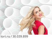 Купить «Composite image of smiling blonde standing hands on hips», фото № 30039899, снято 10 ноября 2013 г. (c) Wavebreak Media / Фотобанк Лори