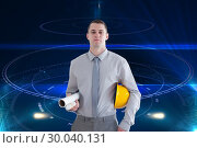 Composite image of architect carrying construction plans and helm. Стоковое фото, агентство Wavebreak Media / Фотобанк Лори