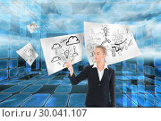 Купить «Composite image of young blonde business woman pointing », фото № 30041107, снято 10 ноября 2013 г. (c) Wavebreak Media / Фотобанк Лори
