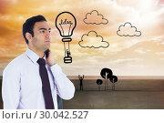 Купить «Composite image of unsmiling businessman standing», фото № 30042527, снято 10 ноября 2013 г. (c) Wavebreak Media / Фотобанк Лори