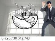 Купить «Composite image of unsmiling businessman catching», фото № 30042743, снято 11 ноября 2013 г. (c) Wavebreak Media / Фотобанк Лори