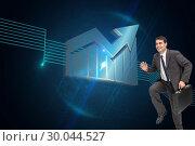Купить «Composite image of cheerful businessman in a hury», фото № 30044527, снято 11 ноября 2013 г. (c) Wavebreak Media / Фотобанк Лори