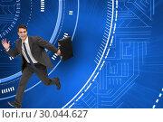 Купить «Composite image of smiling businessman in a hury», фото № 30044627, снято 11 ноября 2013 г. (c) Wavebreak Media / Фотобанк Лори