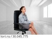 Купить «Composite image of portrait of a serious businesswoman sitting on an armchair», фото № 30045775, снято 11 ноября 2013 г. (c) Wavebreak Media / Фотобанк Лори
