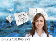 Купить «Composite image of portrait of female nurse holding out open palm», фото № 30045979, снято 11 ноября 2013 г. (c) Wavebreak Media / Фотобанк Лори