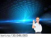 Купить «Composite image of elegant businesswoman showing an okay gesture», фото № 30046083, снято 11 ноября 2013 г. (c) Wavebreak Media / Фотобанк Лори