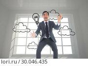 Купить «Composite image of screaming businessman catching», фото № 30046435, снято 11 ноября 2013 г. (c) Wavebreak Media / Фотобанк Лори