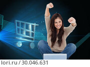 Купить «Composite image of woman looks straight ahead as she celebrates in front of her laptop», фото № 30046631, снято 11 ноября 2013 г. (c) Wavebreak Media / Фотобанк Лори