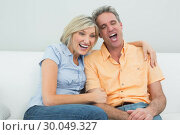 Купить «Cheerful couple sitting on sofa at home», фото № 30049327, снято 17 октября 2013 г. (c) Wavebreak Media / Фотобанк Лори