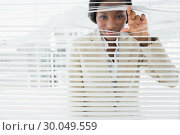 Купить «Portrait of a businesswoman peeking through blinds», фото № 30049559, снято 3 ноября 2013 г. (c) Wavebreak Media / Фотобанк Лори