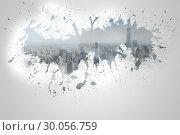 Splash on wall revealing cityscape. Стоковое фото, агентство Wavebreak Media / Фотобанк Лори