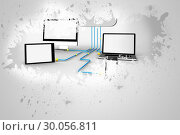 Купить «Splash on wall revealing file transfer graphic», фото № 30056811, снято 11 декабря 2013 г. (c) Wavebreak Media / Фотобанк Лори