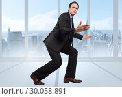 Купить «Composite image of businessman posing with arms outstretched», фото № 30058891, снято 11 декабря 2013 г. (c) Wavebreak Media / Фотобанк Лори