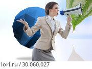 Купить «Composite image of furious stylish brown haired businesswoman shouting in a megaphone», фото № 30060027, снято 10 января 2014 г. (c) Wavebreak Media / Фотобанк Лори