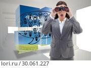Купить «Composite image of surprised businesswoman looking through binoculars», фото № 30061227, снято 10 января 2014 г. (c) Wavebreak Media / Фотобанк Лори