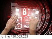 Купить «Composite image of hands pointing and presenting», фото № 30063235, снято 11 января 2014 г. (c) Wavebreak Media / Фотобанк Лори