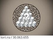 Купить «Composite image of question mark over puzzle doodle», фото № 30063655, снято 11 января 2014 г. (c) Wavebreak Media / Фотобанк Лори