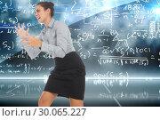 Купить «Composite image of furious businesswoman gesturing», фото № 30065227, снято 11 января 2014 г. (c) Wavebreak Media / Фотобанк Лори