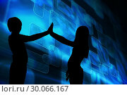 Купить «Composite image of blue squares on black background», фото № 30066167, снято 11 января 2014 г. (c) Wavebreak Media / Фотобанк Лори