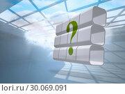 Купить «Composite image of question mark on abstract screen», фото № 30069091, снято 30 января 2014 г. (c) Wavebreak Media / Фотобанк Лори