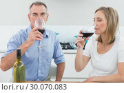 Купить «Relaxed couple drinking wine in kitchen», фото № 30070083, снято 18 октября 2013 г. (c) Wavebreak Media / Фотобанк Лори